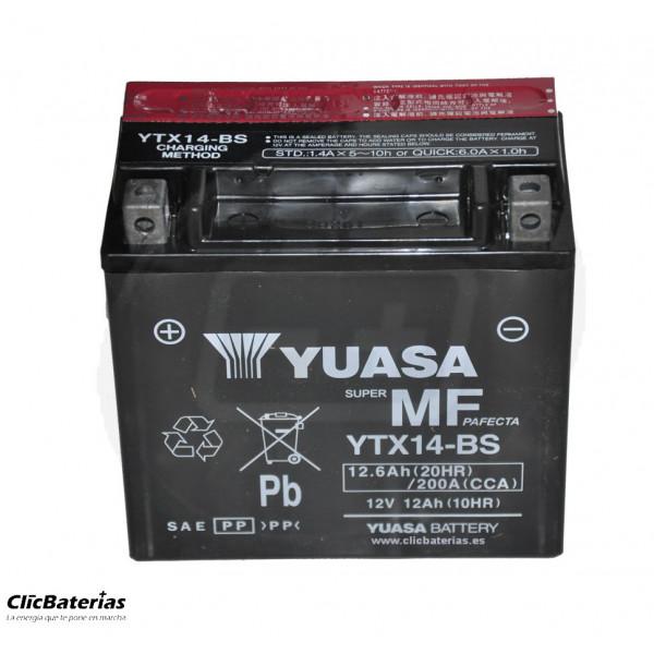Batería YTX14-BS para moto YUASA AGM