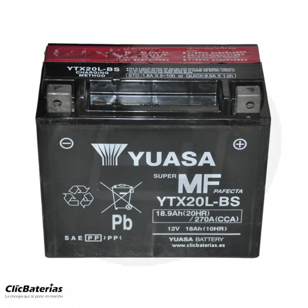 Batería YTX20L-BS para moto YUASA AGM
